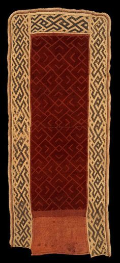 Africa | Royal Woman's Over Skirt from the Kuba People, Bushong Ethnic Group of DR Congo | Raffia fiber; embroidery, pile | Early 20th Century