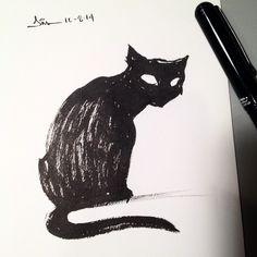 I can't draw while you're watching me! #inktober #pentelpocketbrush