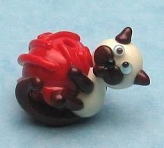 Made to order Margo lampwork beads  yarn ball cat