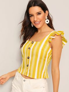 To find out about the Striped Button Front Ruffle Trim Blouse at SHEIN, part of our latest Women Tops ready to shop online today! Fashion News, Fashion Outfits, Stylish Blouse Design, Kurti Designs Party Wear, Creation Couture, Dressy Tops, Summer Shirts, Preppy Style, Ruffle Trim
