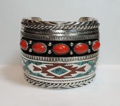 Tommy Singer Chip Inlay Cuff Bracelet, Navajo, Sterling Silver, Coral, Turquoise  Exclusively on Ruby Lane