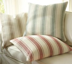 downstairs living room- Chunky Stripe Pillow Cover | Pottery Barn