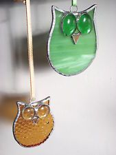 Hand-made stained glass owl bird suncatcher/brooch window decoration gift