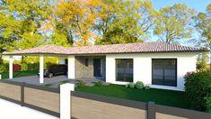 Modèle de plain-pied Tulipe Pergola, Garage Doors, Outdoor Structures, 3d, Outdoor Decor, Home Decor, House Template, Modern Homes, Tulip
