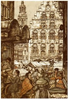 Gouda on Market Day by Anton Pieck