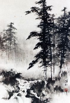 Pine trees, brook, mist - Raining Day - by James Tan, Vancouver, BC Asian Landscape, Chinese Landscape Painting, Landscape Drawings, Japanese Painting, Chinese Painting, Chinese Art, Landscape Art, Landscape Paintings, Chinese Brush