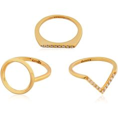 KENZO Sand Symbol 3 Ring Set ($102) ❤ liked on Polyvore featuring jewelry, rings, gold, set rings, swarovski crystal rings, kenzo, sand jewelry and swarovski crystal jewelry