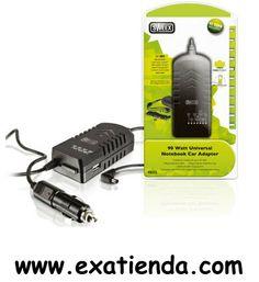 Ya disponible Alimentador port. Sweex 90w para coche             (por sólo 15.84 € IVA incluído):   -Apto para Portátiles de Hasta 90 Vatios -LEDS de indicación de Voltaje -Tapa de Protección del Selector de Voltaje -Puerto USB de Carga Adicional -Compatibilidad: 11 plugs included for all major brands -Características técnicas Short Circuit Protection (SCP) Over Voltage Protection (OVP) Efficiency mayor que 90 % -Dimensiones (Ancho x Alto x Largo): 50 x 109 x 30 mm -