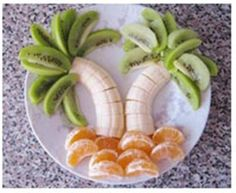 Palm trees made out of fruit. From the My Good Greetings blog.