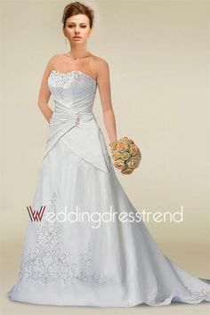 [$166.99] Exquisite Embroidered Ruched Strapless A-line Wedding Dress with Beadings