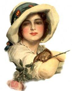 """Two Roses"" illustration by Harrison Fisher Vintage Artwork, Vintage Prints, Vintage Ephemera, Vintage Cards, Vintage Pictures, Vintage Images, Fisher, Edwardian Fashion, Edwardian Era"