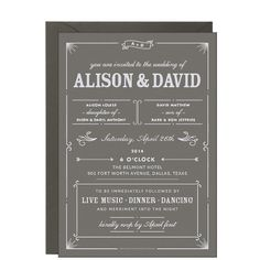 "PaperSource ""Bistro"" Slate Wedding Invitation"