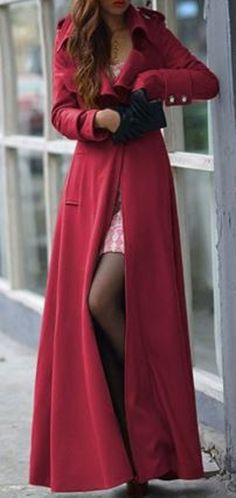 Elegant Solid Red Color Turn-Down Collar Tunic Maxi Coat