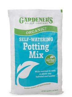 Organic Self-Watering Potting Mix, 20 Qts. This organic potting soil mix is specially formulated for self-watering containers to wick moisture to roots so plants stay hydrated and healthy.