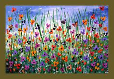 On Sale Poppy Flower Field Textured Original Painting on Canvas 36x24 Wall Art Painting Spring Home Decor. $100.00, via Etsy.