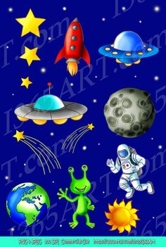 Outer Space Clipart, Science art, Scrapbooking,  Astronaut, Rocket, Flying Saucer, Alien, Stars, Planets, Meteor, Illustrations, Commercial