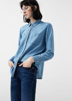 Camisa denim lino | MANGO