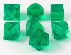 Gamescience Dice (Emerald GEM) | 7 Piece RPG Precision Dice Set – Dark Elf Dice