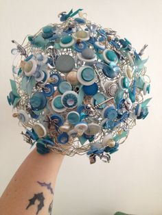 Blue silver beach sea theme fake artificial wedding bride bridal bouquet traditional vintage