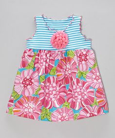 Another great find on #zulily! Pink & Turquoise Floral Lettuce-Edge Swing Top - Toddler & Girls by SILLY MILLY #zulilyfinds