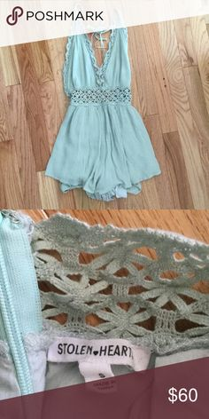 Mint stolen hearts romper. Size small Stolen hearts size small. Worn once. Hubby buys me too many clothes! Free People Other