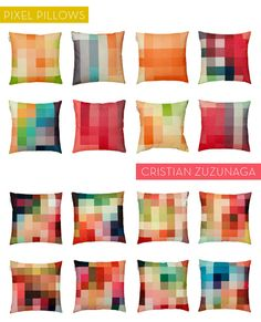 pixelated pillows --- hard to look at but nice colors!