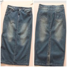 "Distressed Denim Midi Skirt S, M, L Must Have! NWT. Denim is one of the must haves. Mix it up with this stretchy midi skirt. Distressed and on trend. Small measures 25"" in the waist (unstretched) and fits a size 2 models pic 2 and 4 and 28"" long. L measures about 29"" in the waist. Available in S, M, L Jeans"