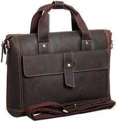 4414a1f1dc96f NEW Genuine Leather Briefcases Laptop Bags Business Cases Messenger TIDING  Brown Fashion