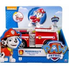 Paw Patrol Marshall's Fire Fightin' Truck includes a three-inch figure of Marshall the Dalmatian, the main character from the Nickelodeon animated series Paw Patrol.