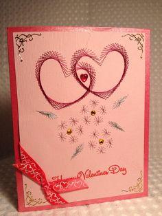 Valentine card stitched