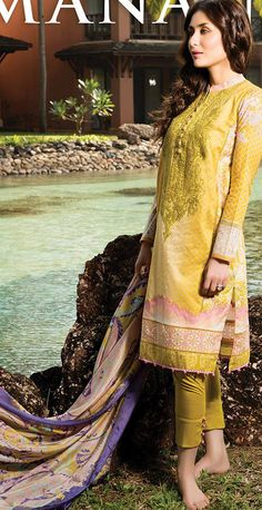 Buy Bronze Light Embroidered Cotton Lawn Salwar Kameez by Cresent Lawn Collection 2015.