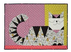 """Cat Lady wall hanging quilt, 36 x 28"""", design by Sarah Watts, quilt and kit at Craft of Quilting"""
