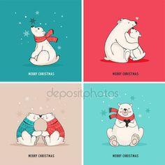 Рисованной Полярный медведь, милый медведь набор, мать и ребенок медведи, пара медведей. Веселые рождественские поздравления с мишками — стоковый вектор