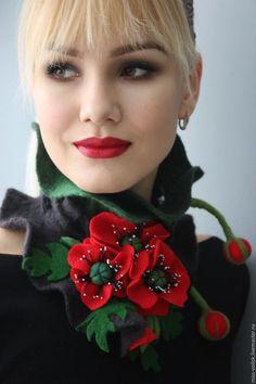 Diy Necklace Bracelet, Flower Necklace, Paper Flower Backdrop, Paper Flowers, Wet Felting, Needle Felting, Handmade Scarves, Love Hat, Textile Jewelry