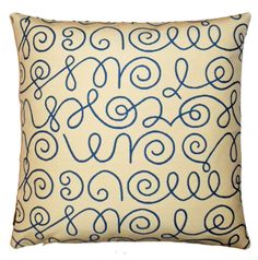 Pillow with Maharam NAMES fabric designed by Alexander Girard blue #patpendpillows #contemporary