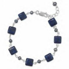 Lapis and Grey Pearl Bracelet