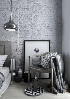 Nuances de gris accentuées de noir et de blanc! Classique magnifique! #chambre #deco