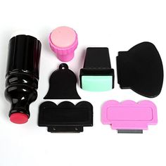 Double Ended Stamper Nail Art Stamping Large Small Scraper Plate Image Set 7pcs -- For more information, visit image link.