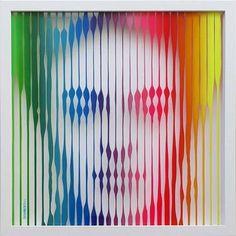 "Painting, ""Frida Kahlo (Rainbow) Original Painting on Glass"" Unique Paintings, Original Paintings, Hybrid Art, Rainbow Art, Art Furniture, Art Drawings Sketches, Op Art, Saatchi Art, Deco"