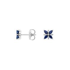 18K White Gold Sapphire and Diamond Petal Earrings, top view