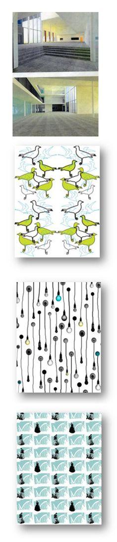 HAMKin D-talon verhojenhankintasuunnitelma, paino- ja digiprint-kangasvalmistajien kartoitus, omalla kuosilla toteutettu painokangas // Tilaaja/Client: HAMK Kipi-toimisto // Suunnittelija/Designer: Hankintasuunnitelma Susanna Hakala, painokuosit ATE05  /  2008 // Yhteistyökumppani/Partner: Arkkitehtitoimisto von Boem / Matti Sten