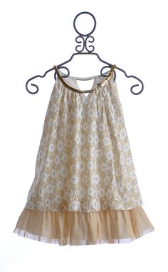 Elisa B Tween Layered Holiday Dress in White and Gold Lace