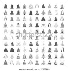 Christmas Tree Icons Set - Isolated On Gray Background - Vector Illustration, Graphic Design Editable For Your Design