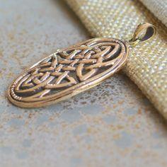 Large Bronze Oval Celtic Knot Pendant, Celtic Design, Infinity, Endless Knot, Celtic Oval, Traditional, Bronze, Golden, One Pendant by WanderlustWorldArts on Etsy
