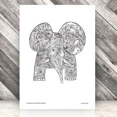 Elephant Litographic Print By Olle Eksell