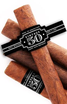 Personalized cigar labels are great for weddings, bachelor parties, bachelorette parties, birthdays and baby showers. Add funny or special messages to cigar bands to capture attention while making memories. A custom cigar band is certain to get some atten 50th Birthday Themes, 60th Birthday Party, 50th Party, Birthday Favors, Peaky Blinders, Havana Nights Party, Havana Party, Cigar Party, Cigars And Whiskey