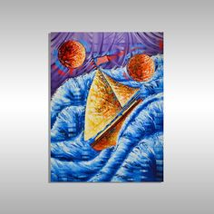 Original Sailboat Painting Let's Sail Away, Original Nautical Fine Art by Miami Artist Laelanie Larach. Original Painting available at Laelanie Art Gallery. Nautical Painting for Sale.