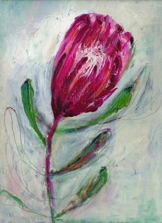 This is a giclée print of an original painting by Paula Mills created in acrylic paint and ink. The flower is a Queen Protea, the national flower of South Africa, which also thrives in Australia. I love drawing flowers, plants and patterns and I l Original Art, Original Paintings, Acrylic Paintings, Africa Art, Abstract Canvas Art, Love Drawings, Native Art, Watercolor Flowers, Wall Art Prints