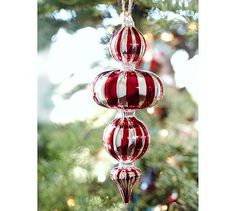 Peppermint Finial Ornament #potterybarn