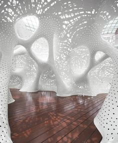 Using special technology, London's Theverymany Architects and Marc Fornes have designed the Boolean Operator in Suzhou, a creation that is arousing visitors' curiosity and sense of discovery. Green Architecture, Organic Architecture, Futuristic Architecture, Architecture Design, Futuristic Interior, Library Wall, Parametric Design, Artistic Installation, Planer